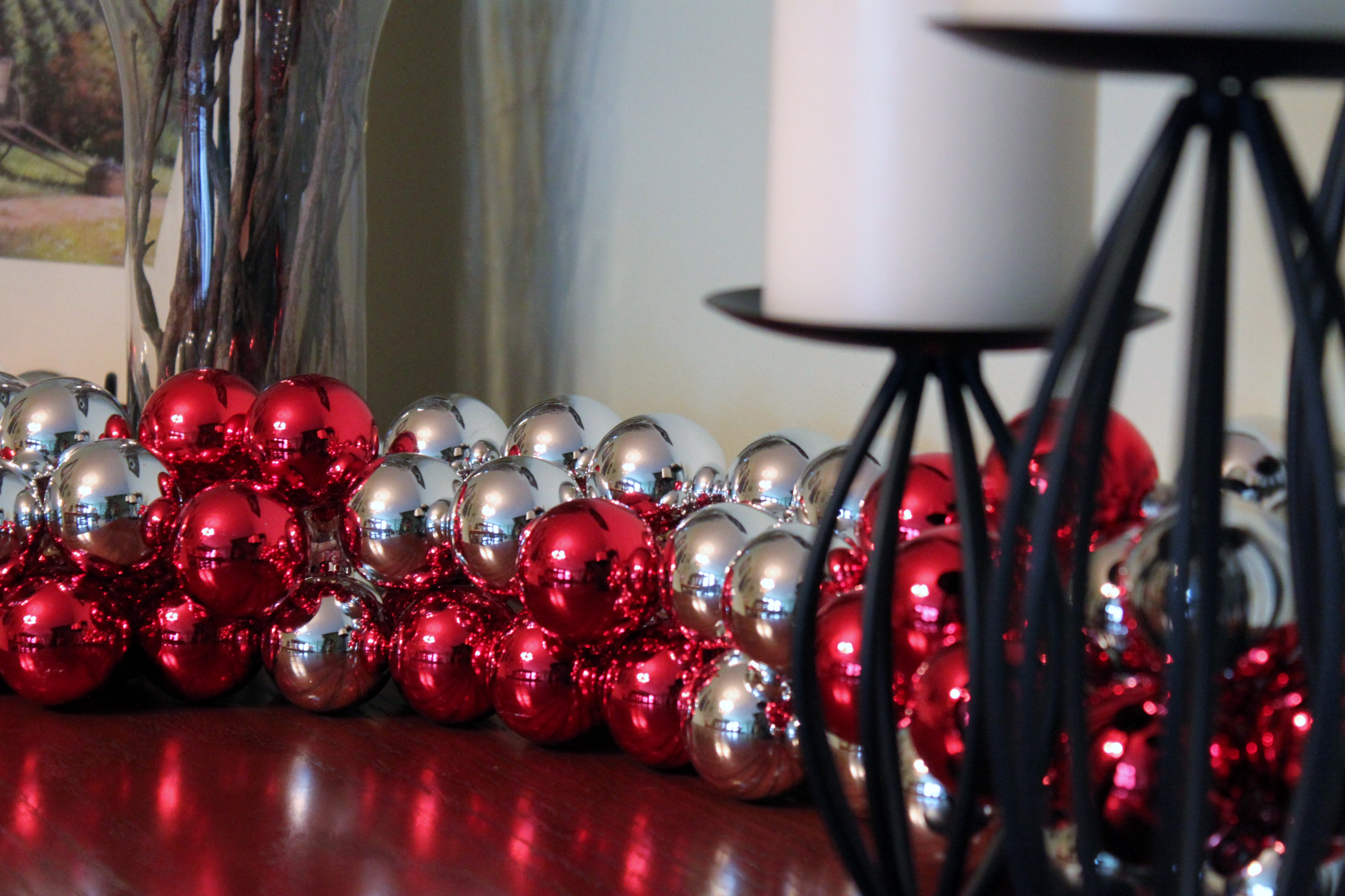 Because I Love To Carry A Theme Way Too Far, I Also Have Christmas Balls  Embellishing The Greenery Draped Over My Fireplace I Do Not Have A Picture  To Show